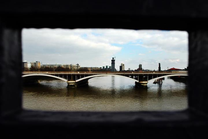 Through the rails of Chelsea Bridge by Nina Linn